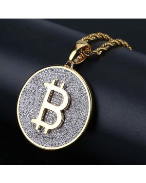 Gold Color Iced Out Round Bitcoin Pendant Necklace