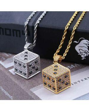 Luxury Square Dice Pendant Necklace