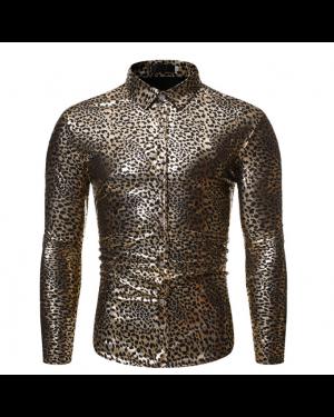 Disco Shirt Metallic Leopard Print