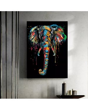 Abstract Elephant Canvas Painting