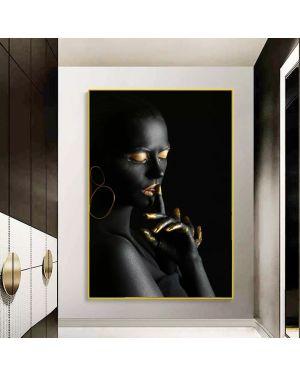 Black&Gold Woman Canvas Art Poster