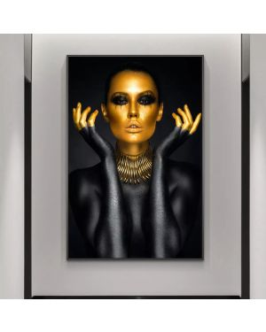 Black&Gold Woman Canvas Painting