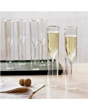 Champagne Double Wall Glass Flute