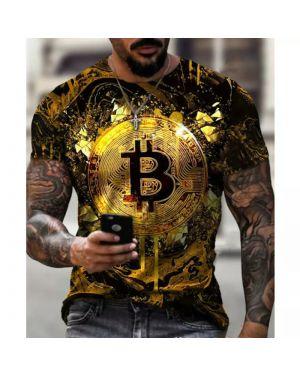 Fashion Casual Men T-Shirt Bitcoin 3D Print