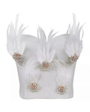 Feather Beading Luxury Crop Top