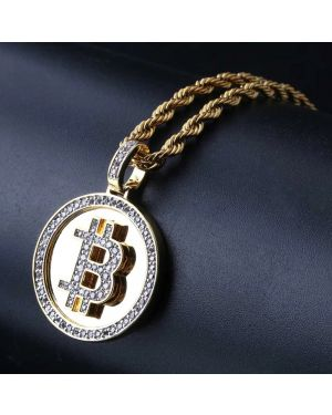 Hip Hop Gold Color Plated Zirconia Round Necklace