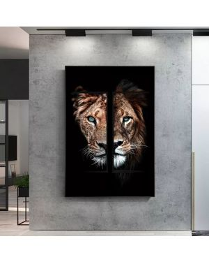 Lion and Lioness Abstract Canvas Painting