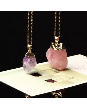 Natural Pendant Rose Quartz Crystal