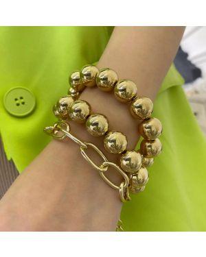 Steam-Punk Golden Big Bead Chain Bracelet
