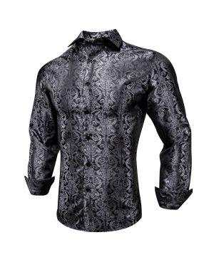 Vintage Black Paisley Designer Men Shirt