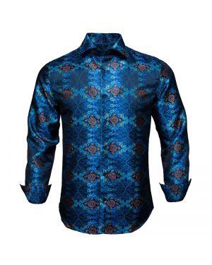 Vintage Blue Floral Long Sleeve Men Shirt
