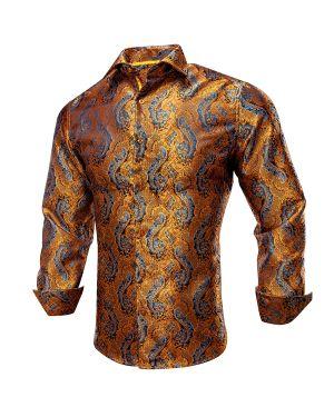 Vintage Gold Paisley Men Shirt